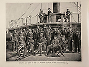 """OFFICERS AND CREW OF THE U. S. WARSHIP AGAWAM, ON THE JAMES RIVER, I864. from The American Civil War book and Grant album : """"art immortelles"""" : a portfolio of half-tone reproductions from rare and costly photographs designed to perpetuate the memory of General Ulysses S. Grant, depicting scenes and incidents in connection with the Civil War Published  in Boston and New York by W. H. Allen in 1894"""