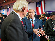 14 JANUARY 2020 - DES MOINES, IOWA: California businessman TOM STEYER, right, talks to MSNBC anchor CHRIS MATTHEWS at the CNN Democratic Presidential Debate on the campus of Drake University in Des Moines. This is the last debate before the Iowa Caucuses on Feb. 3.    PHOTO BY JACK KURTZ