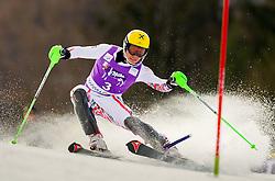 11.03.2012, Podkoren 3, Kranjska Gora, SLO, FIS Weltcup Ski Alpin, Herren, Salom, 2. Durchgang, im Bild Einfädler von Marcel Hirscher (AUT) // Marcel Hirscher of Austria failes to clear the gate during mens Slalom 2nd run of FIS Ski Alpine World Cup at 'Podkoren 3' course in Kranjska Gora, Slovenia on 2012/03/11. EXPA Pictures © 2012, PhotoCredit: EXPA/ Sportida/ Vid Ponikvar