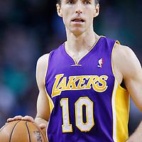 07 February 2013: Los Angeles Lakers point guard Steve Nash (10) brings the ball upcourt during the Boston Celtics 116-95 victory over the Los Angeles Lakers at the TD Garden, Boston, Massachusetts, USA.