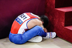 October 29, 2018 - Doha, Qatar - Artur Dalaloyan of Russia devastated after losing the goal by 0.1 point at the Team final for Men at the Aspire Dome in Doha, Qatar, Artistic FIG Gymnastics World Championships on October 29, 2018. (Credit Image: © Ulrik Pedersen/NurPhoto via ZUMA Press)