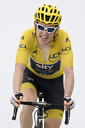 July 25, 2018 - Saint-Lary-Soulan, FRANCE - British Geraint Thomas of Team Sky wearing the yellow jersey of overall leader arrives at the finish of the 17th stage of the 105th edition of the Tour de France cycling race, from Bagneres-de-Luchon to Saint-Lary-Soulan (65 km), France, Wednesday 25 July 2018. This year's Tour de France takes place from July 7th to July 29th. BELGA PHOTO YORICK JANSENS (Credit Image: © Yorick Jansens/Belga via ZUMA Press)
