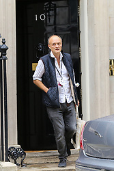 © Licensed to London News Pictures. 04/009/2019. London, UK. Special Advisor to the Prime Minister DOMINIC CUMMINGS departs from Number 10 Downing Street to attend Prime Minister's Questions (PMQs) in the House of Commons. On Monday 3 Sept 2019, MP's voted by 328 - 301 with a majority of 27 to take control of the House of Commons agenda for Tuesday 4 Sept 2019. Photo credit: Dinendra Haria/LNP