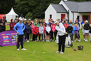 Leona Maguire (IRL) Stephanie Meadow (NIR)at the Golf4Girls4Life festival at the ISPS Handa World Invitational, Galgorm Castle Golf Club, Ballymena, Antrim, Northern Ireland. 14/08/2019.<br /> Picture Fran Caffrey / Golffile.ie<br /> <br /> All photo usage must carry mandatory copyright credit (© Golffile   Fran Caffrey)
