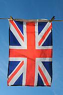 Union Jack Flag Hanging on a Washing Line