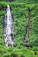 Two waterfalls amid green vegetation Kenai Peninsula Alaska USA