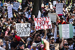 August 19, 2017 - Boston, Massachusetts, United States - Tens of thousands of counter protestors gathered to oppose 'Free Speech Rally' which held by White Supremacists in Boston Common, Massachusetts. (Credit Image: © Go Nakamura via ZUMA Wire)