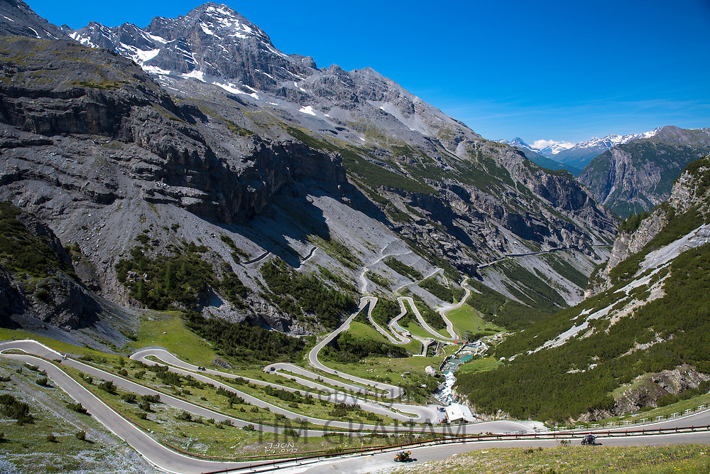 Motorcycles on The Stelvio Pass, Passo dello Stelvio, Stilfser Joch, on route Bormio to Trafoi in the Alps, Northern Italy