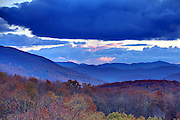 The Blue Ridge mountains scenic views from the Blue Ridge Parkway in fall.