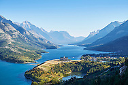 Overlooking the Prince of Wales Hotel and the Waterton town in Waterton Lakes National Park, Alberta, Canada.