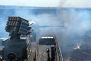 Israeli Navy missile boat class Saar 4.5 Firing a 76mm cannon
