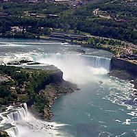 Canada, Ontario, Niagara Falls. Niagara Falls aerial view by helicopter.