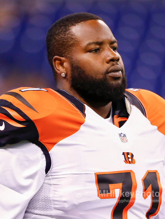 INDIANAPOLIS, IN - SEPTEMBER 3: Andre Smith #71 of the Cincinnati Bengals is seen before the game against the Indianapolis Colts at Lucas Oil Stadium on September 3, 2015 in Indianapolis, Indiana. (Photo by Michael Hickey/Getty Images) *** Local Caption *** Andre Smith