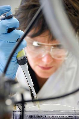 Nederland, Oss, 27-7-2010Fabriek van de  producent van medicijnen Organon. Vooral van pillen voor anticonceptie,vruchtbaarheid en menopauze. Op de foto een laborant bezig met het maken van een gel.Foto: Flip Franssen