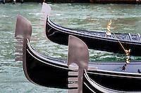 Italy, Venice. Gondolas on Canal Grande.
