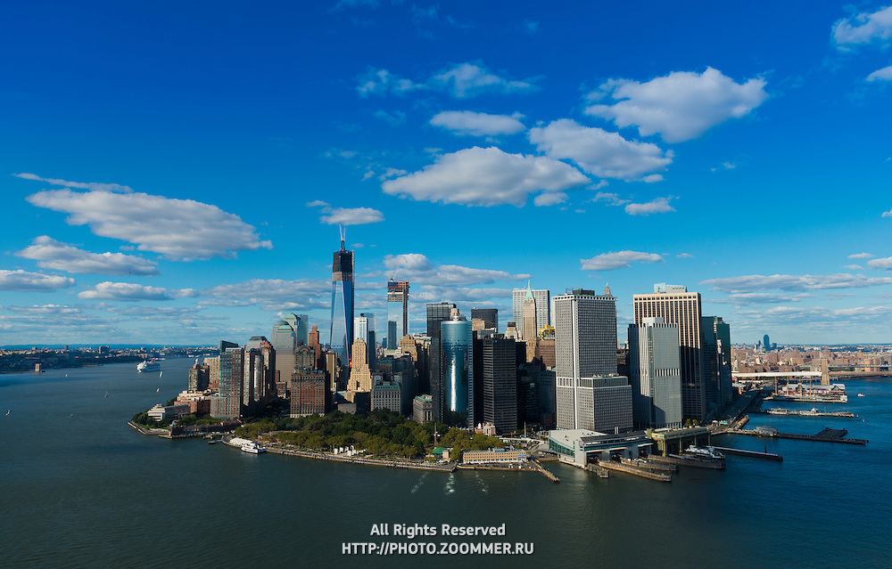 South port, Battery park and Financial district of Manhattan aerial