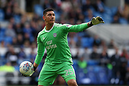 Neil Etheridge, the Cardiff city goalkeeper in action. EFL Skybet championship match, Cardiff city v Sheffield Wednesday at the Cardiff City Stadium in Cardiff, South Wales on Saturday 16th September 2017.<br /> pic by Andrew Orchard, Andrew Orchard sports photography.