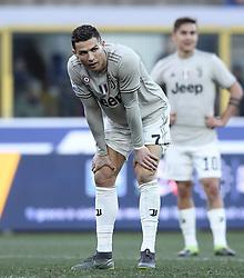 BOLOGNA, Feb. 25, 2019  Juventus's Cristiano Ronaldo reacts during a Serie A soccer match between Bologna and FC Juventus in Bologna, Italy, Feb. 24, 2019. FC Juventus won 1-0. (Credit Image: © Augusto Casasoli/Xinhua via ZUMA Wire)