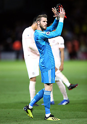 Manchester United goalkeeper David de Gea applauds the fans after the final whistle during the Premier League match at Vicarage Road, Watford
