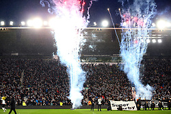 A general view of the atmosphere in Pride Park before the match begins
