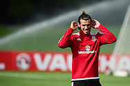 Gareth Bale of Wales during the Wales football team training session at the Vale Resort, Hensol Castle near Cardiff ,South Wales on Monday 31st August  2015. The team are preparing for their next EURO 2016 qualifying match away to Cyprus later this week.<br /> pic by Andrew Orchard, Andrew Orchard sports photography.