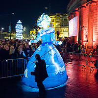 LIVERPOOL, UK, 1st March, 2014. People enjoy a close up view of the Playhouse Theatre puppet at the Everyman Theatre celebrations.