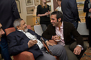 V.S.NAIPAUL; AATISH TASEER, Aatish Taseer  book launch party for his new book Stranger To History. Travel book asks what it means to be a Muslim in the 21st century. Hosted by Gillon Aitken. Kensington, London. 30 March 2009