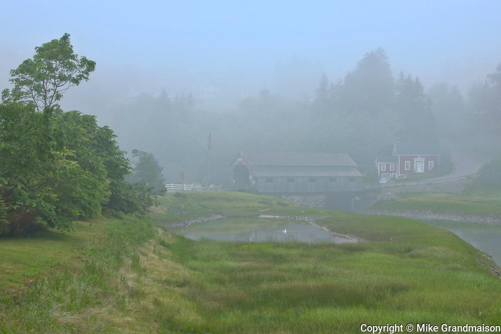 Covered bridge in fog<br />St. Martins<br />New Brunswick<br />Canada