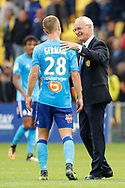 Claudio RANIERI (FC Nantes) and Valentin RONGIER (FC Nantes) during the French championship L1 football match between Rennes v Lyon, on August 11, 2017 at Roazhon Park stadium in Rennes, France - Photo Stephane Allaman / ProSportsImages / DPPI