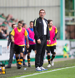 Hibernian's manager Alan Stubbs after Alloa Athletic's Colin Hamilton brought down Hibernian's James Keating for a first half penalty claim. <br /> Hibernian 3 v 0 Alloa Athletic, Scottish Championship game played 12/9/2015 at Easter Road.
