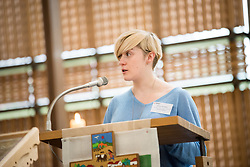 18 September 2017, Geneva, Switzerland: Morning prayers at the Ecumenical Centre in Geneva, as the World Council of Churches hosts a meeting of member churches' Ecumenical Officers. Here, Miriam Weibye from the Scottish Episcopal Church.