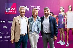 PORTOROZ, SLOVENIA - SEPTEMBER 16:  Franjo Bobinac, Maja Matevzic and Lovro Peterlin at Zdruzenje manager VIP tournament during the WTA 250 Zavarovalnica Sava Portoroz at SRC Marina, on September 16, 2021 in Portoroz / Portorose, Slovenia. Photo by Vid Ponikvar / Sportida