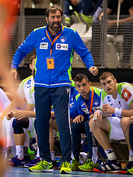 11-04-2019 NED: Netherlands - Slovenia, Almere<br /> Third match 2020 men European Championship Qualifiers in Topsportcentrum in Almere. Slovenia win 26-27 / Coach Uros Mohoric of Slovenia