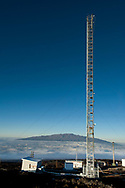 Meteorlogical sampling tower and the Mauna Loa Observatory, Hilo, Hawaii.