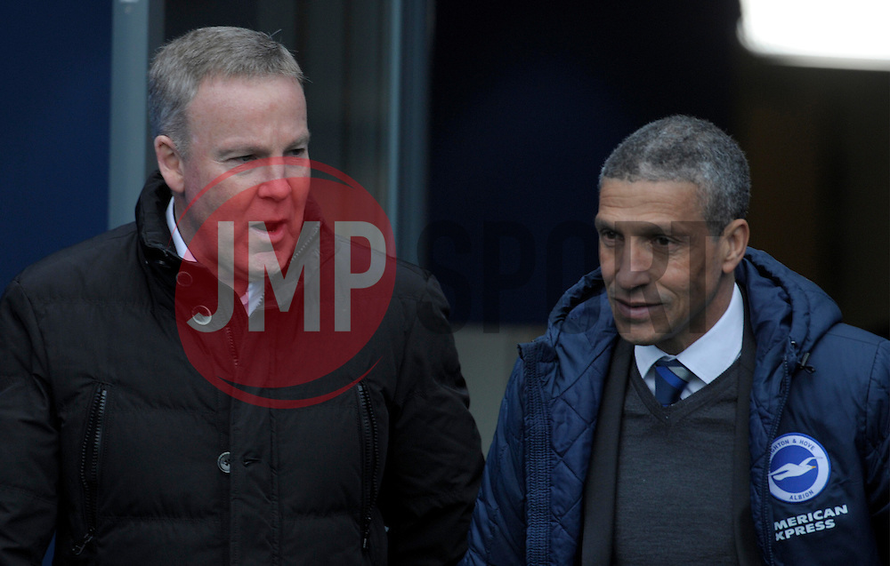 Wolverhampton Wanderer Manager, Kenny Jackett and Brighton and Hove Albion Manager, Chris Hughton  - Photo mandatory by-line: Harry Trump/JMP - Mobile: 07966 386802 - 14/03/15 - SPORT - Football - Sky Bet Championship - Brighton v Wolves - Amex Stadium, Brighton, England.