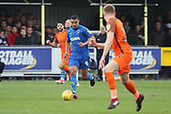 AFC Wimbledon striker Kweshi Appiah (9) dribbling during the EFL Sky Bet League 1 match between AFC Wimbledon and Southend United at the Cherry Red Records Stadium, Kingston, England on 24 November 2018.