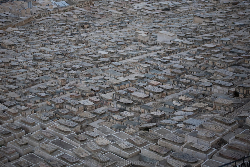 A Jewish Cemetery in Old City Jerusalem as seen from the Mount of Olives, Israel.