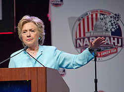 Hillary Clinton, the Democratic Party nominee for President of the United States, makes remarks at the 2016 National Association of Black Journalists (NABJ) and National Association of Hispanic Journalists (NAHJ) joint convention at the Washington Marriott Wardman Park Hotel in Washington, DC, USA, on Friday, August 5, 2016. Following her prepared remarks, Secretary Clinton took questions from the moderators and from the audience. Photo by Ron Sachs/CNP/ABACAPRESS.COM