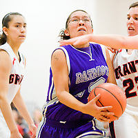 022613       Cable Hoover<br /> <br /> Miyamura Patriot Samantha Jimson (44) pushes past Grants Pirate Haley Hall (22) Tuesday at Grants High School.