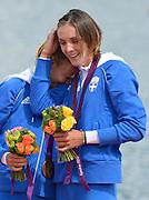 Eton Dorney, Windsor, Great Britain,..2012 London Olympic Regatta, Dorney Lake. Eton Rowing Centre, Berkshire.  Dorney Lake.  ..Women's Lightweight Doubles sculls,  GRE LW2X. Christina GIAZITZIDOU.   Alexandra TSIAVOU. ..12:33:25  Saturday  04/08/2012 [Mandatory Credit: Peter Spurrier/Intersport Images]