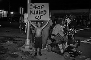 Terry Boatner, 9 years old at a protest in Baton Rouge after a vigil for Alton Sterling at the Triple S Food Mart, Wednesday, July 6, 2016.