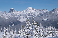 American Border Peak and Mount Larrabee in winter, North Caascades Washington