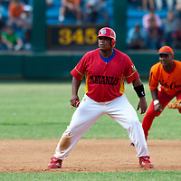 15 February 2009: Garlobo during a training game of Cuba Baseball Team for the World Baseball Classic 2009. The national team is pitted against itself, divided in two teams called the Occidentales and the Orientales. The Orientales win 12-8, at the Latinoamericano stadium, in la Habana, Cuba.