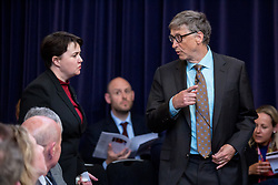 © Licensed to London News Pictures. 19/04/2017. London, UK. Ruth Davidson MSP, (Leader of the Scottish Conservative Party) and Bill Gates, (Co-Chair of the Bill & Melinda Gates Foundation) arrive at The Royal United Services Institute (RUSI) panel discussion on aid, security and broader British national interests. Photo credit : Tom Nicholson/LNP