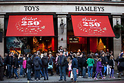 World famous Hamleys toy shop on Regent Street, London. The flagship store is considered one of London's major tourist attractions, and receives about five million visitors a year.