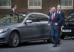 © Licensed to London News Pictures. 22/09/2016. London, UK. President of the European Parliament, Martin Schulz arrives in Downing Street to meet with Prime Minister Theresa May in a private hire taxi. The S350 series Mercedes carries a private hire vehicle sticker in it's windscreen .  Photo credit: Peter Macdiarmid/LNP