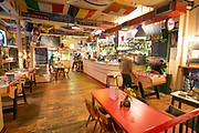 Interior of Bar Kick on 18th November 2015 in East London, United Kingdom. Bar Kick is a lively cafe and pub with numerous Bonzini football tables