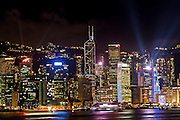 Night skyline of Central District and Victoria Harbour Hong Kong.