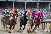 May 4, 2019: 145th Kentucky Derby at Churchill Downs. Maximum Security (pink silks right) leads the field in KY Derby 145.
