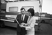 Popular TV and radio personality Bunny Carr buys the 'first brick' in the Central Remedial Clinic's novel fundraising drive.  .17.02.1967
